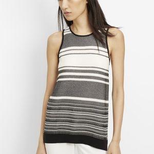 Vince multi stripe sweater tank cotton white m